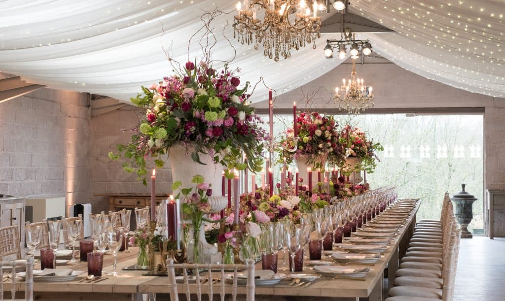 Trestle table arrangements with candles