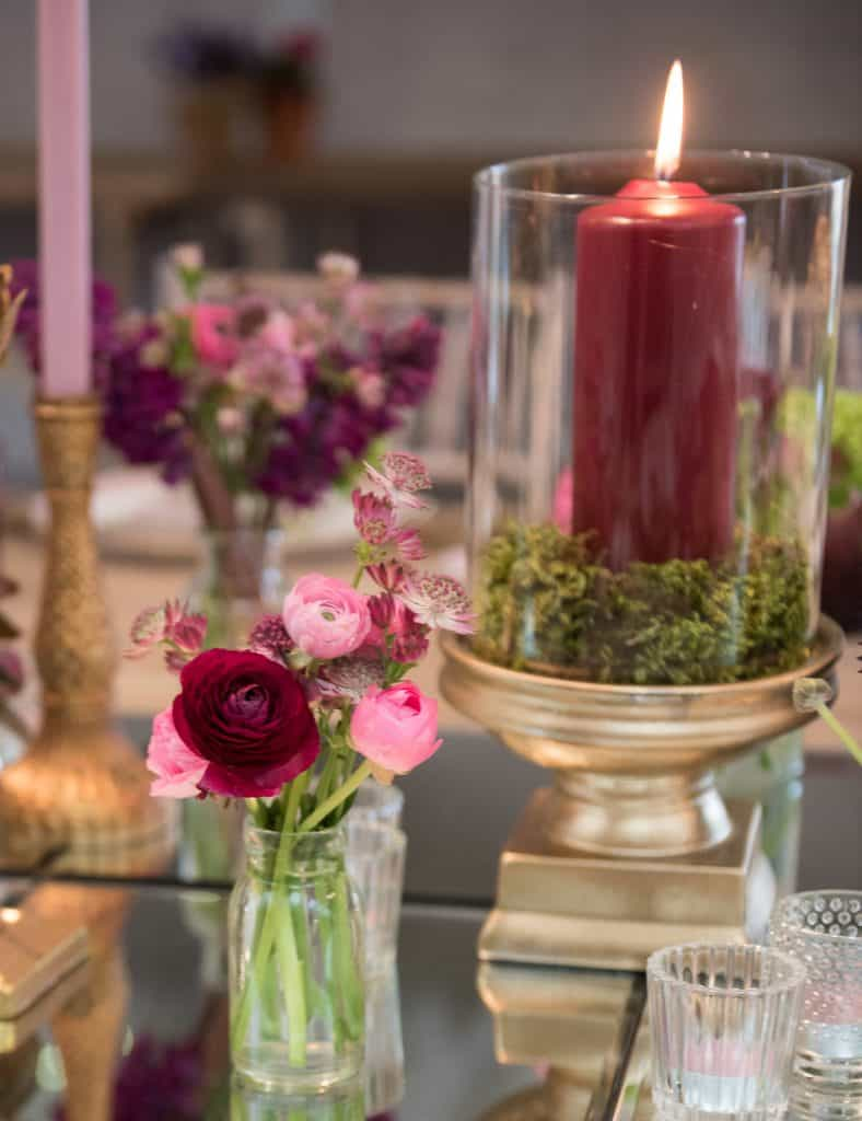 Small table arrangements with large candles