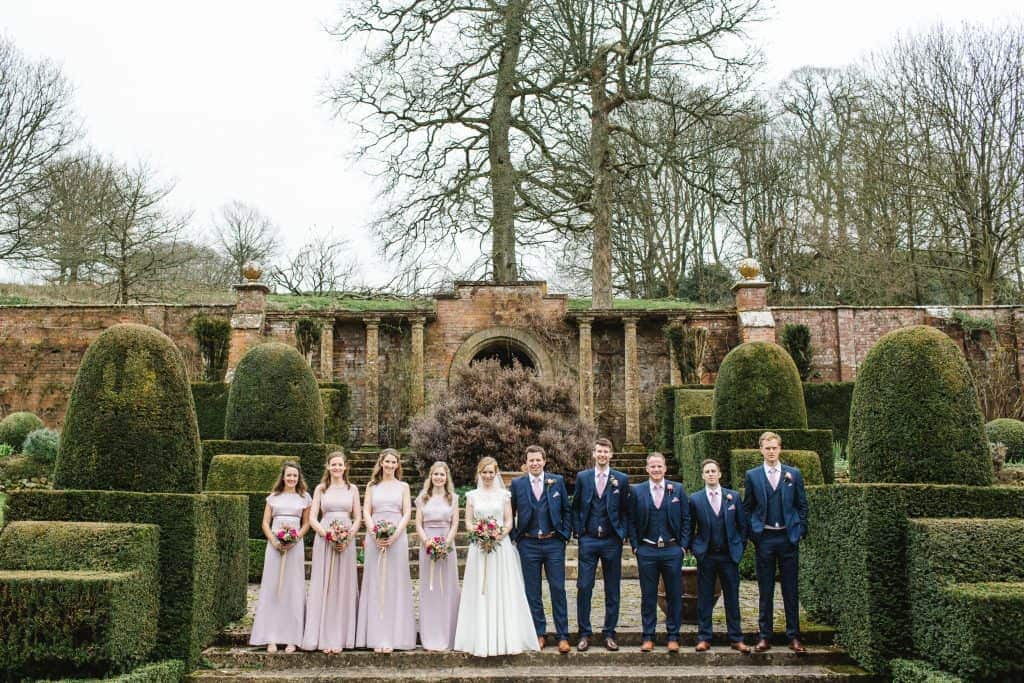 bridal party outside the orangery at mapperton house