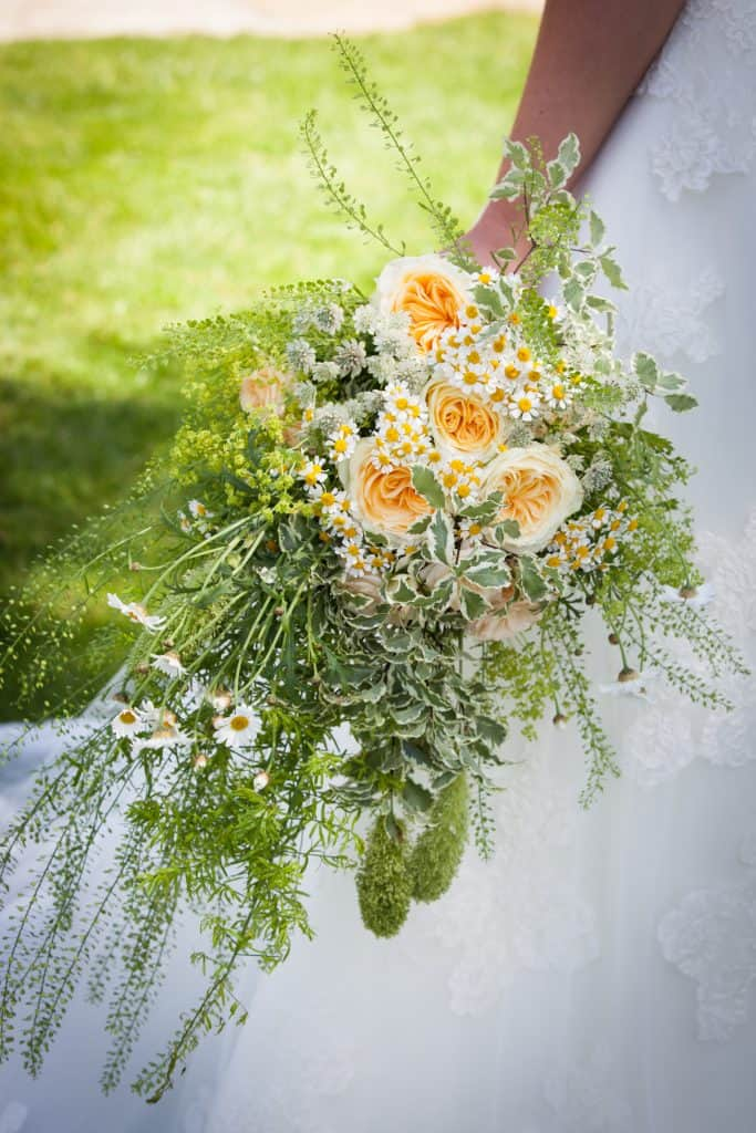 Yellow and green themed bridal bouquet