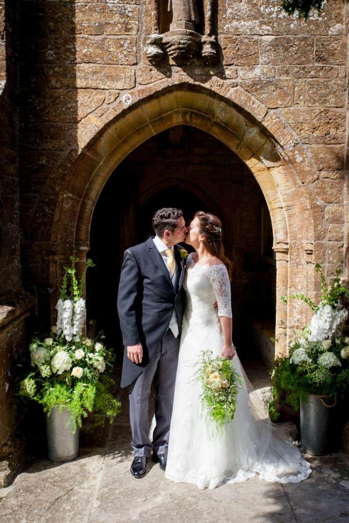 Bridal bouquet with pedastals in porch