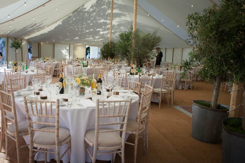 Table arrangements with olive trees
