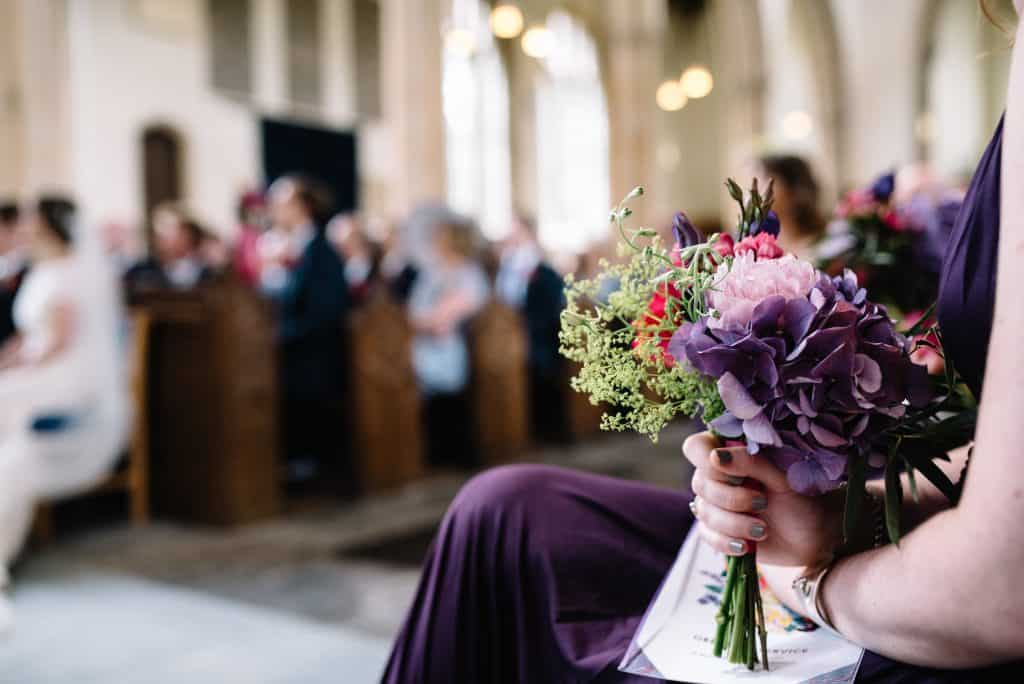 close up purple hydragea bridesmaids
