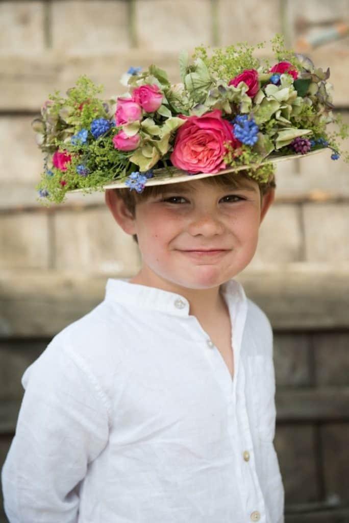 Pink and blue floral hat arrangement