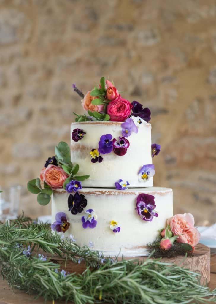 edible flowers and cake purple