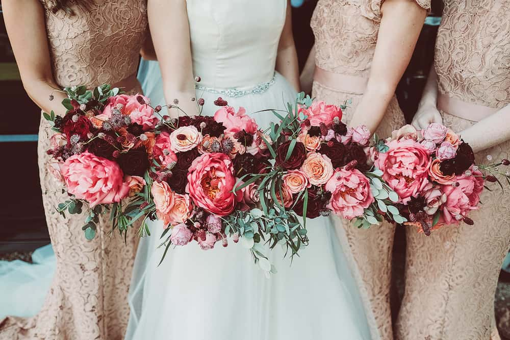 Bridal bouquets with pink peonies