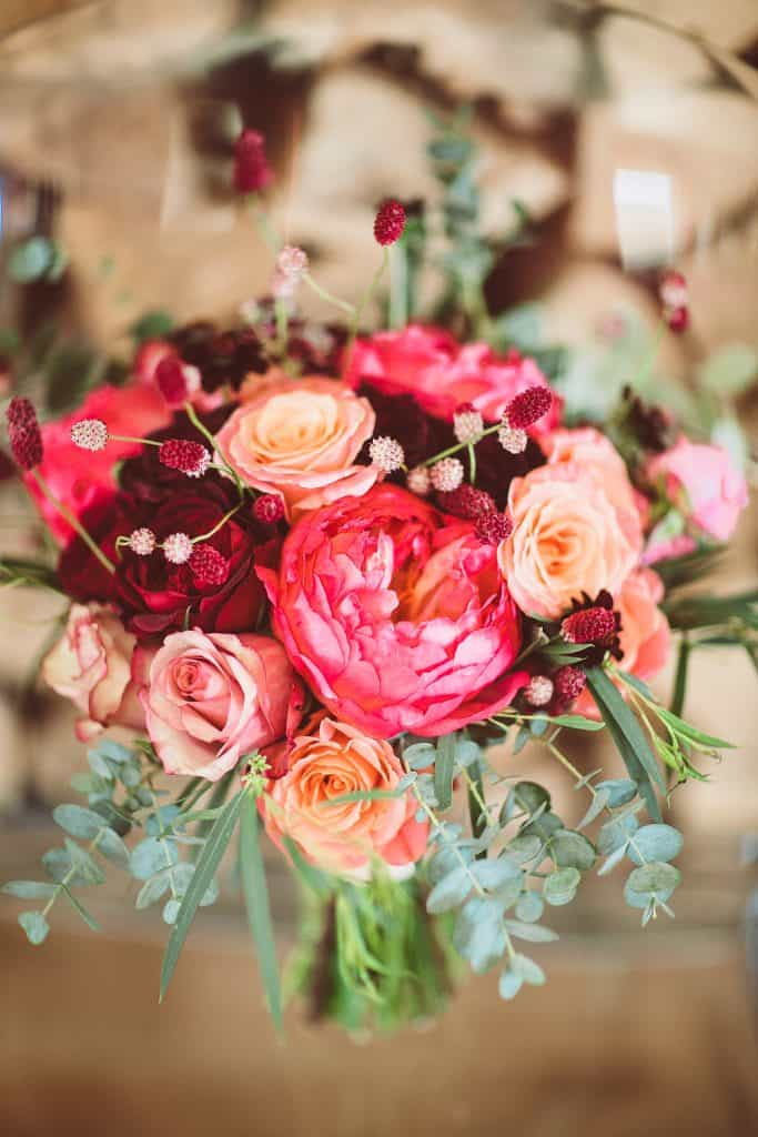 Bouquet with red and pink roses