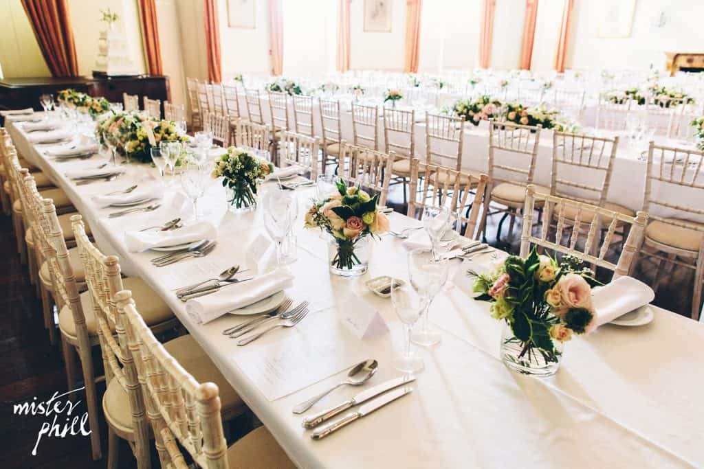 Table arrangements at North Cadbury Court