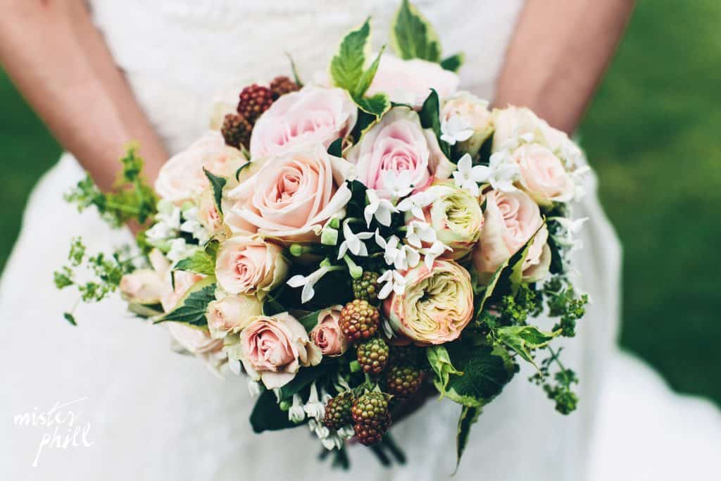 Blush coloured bouquet with blackberries
