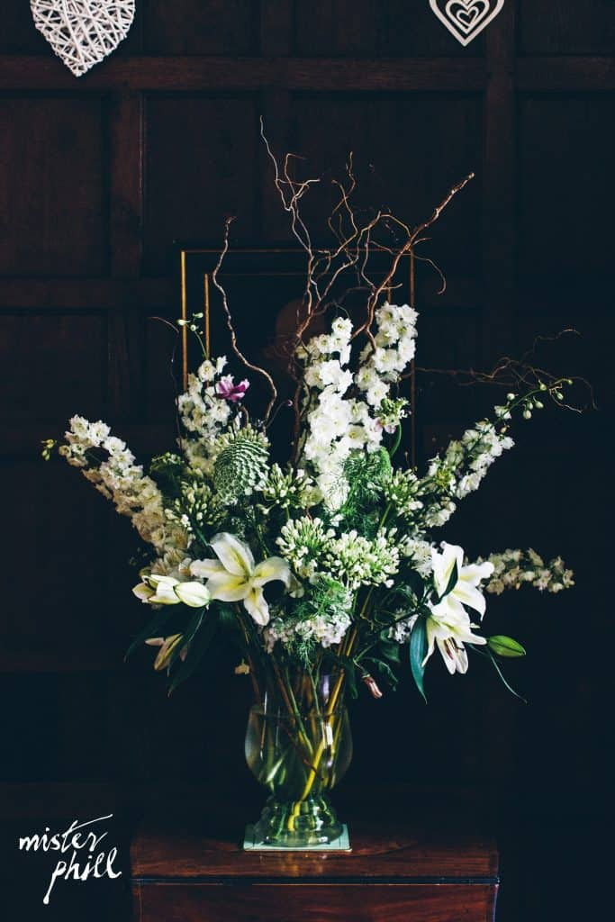White and green arrangements in vases