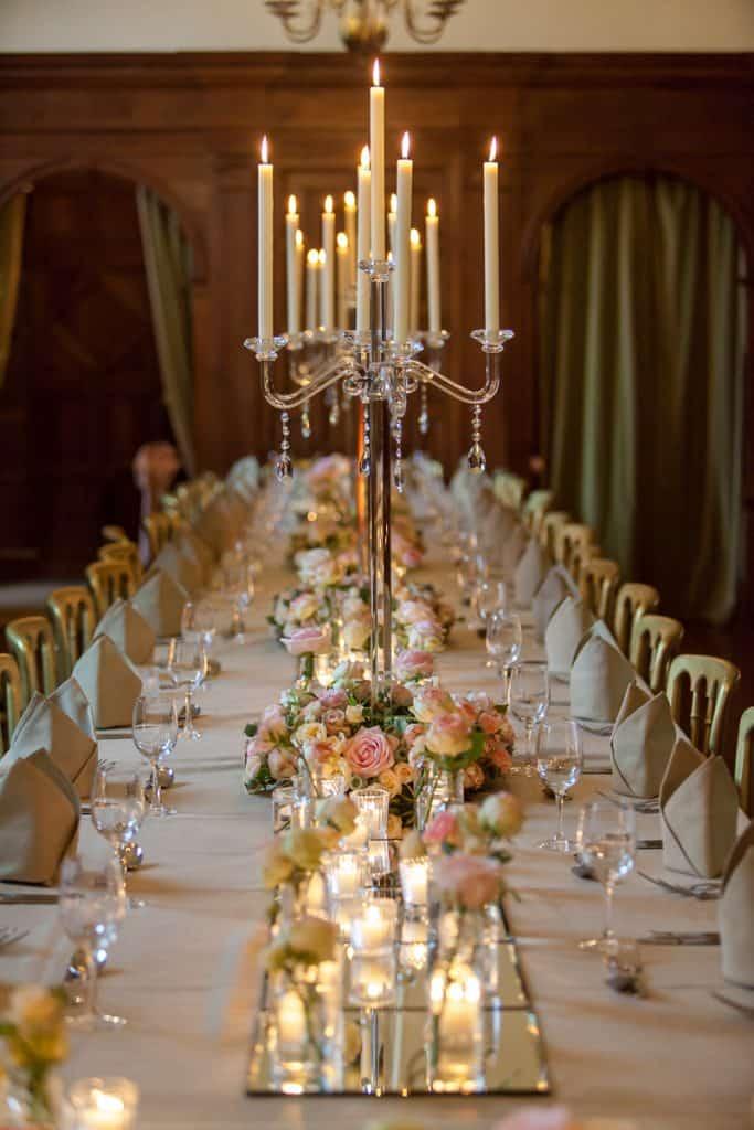Trestle table arrangements with candelabra