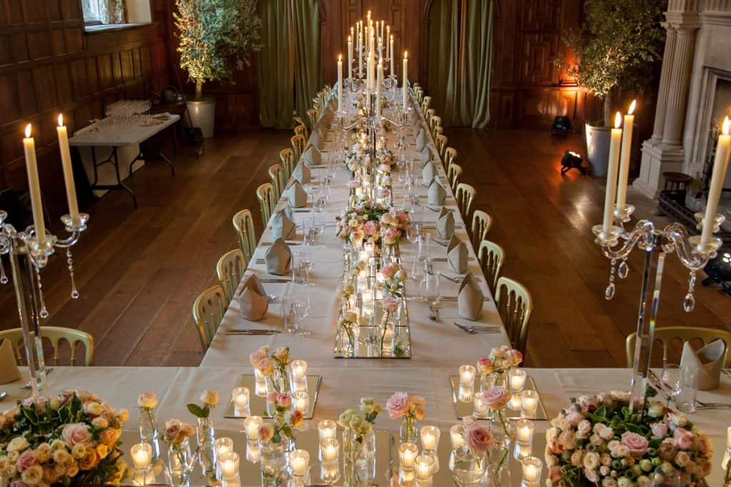 Table arrangements using mirror plates at North Cadbury Court