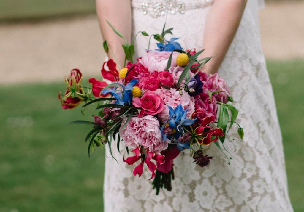 pink, blue purple bridal bouquet