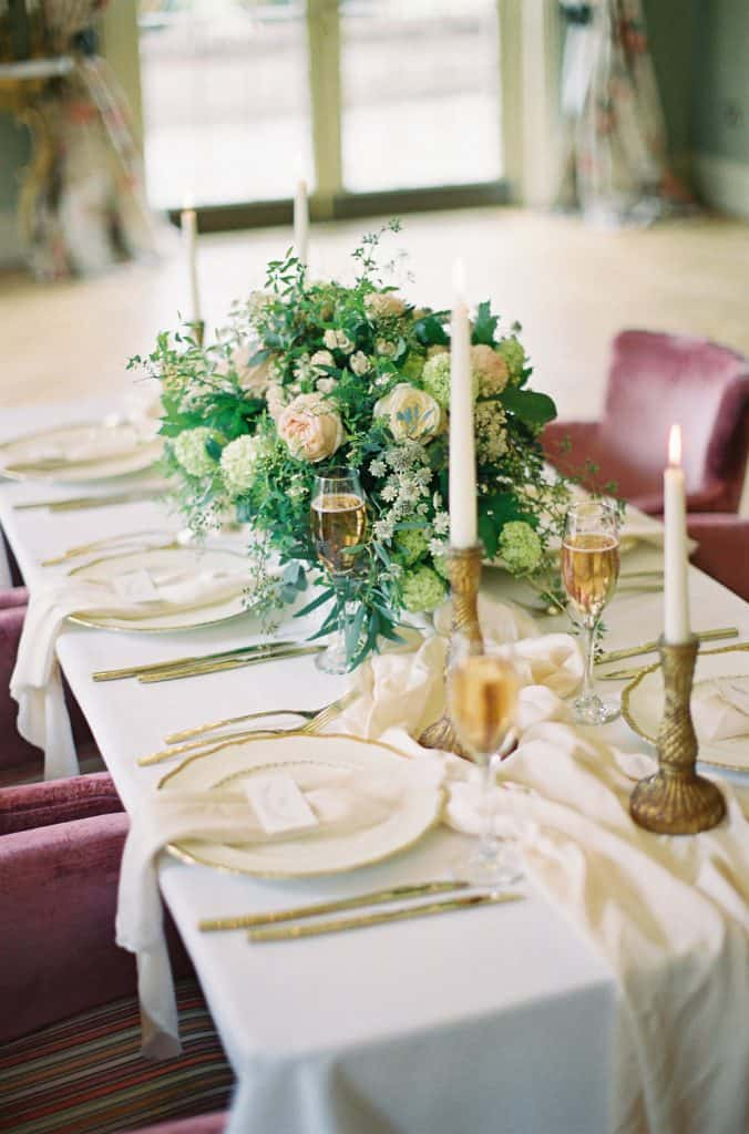 tablescape with blush flowers