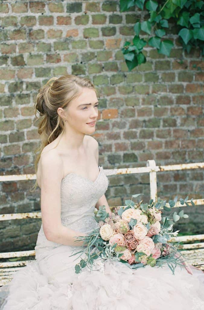 blush and white roses bridal bouquet
