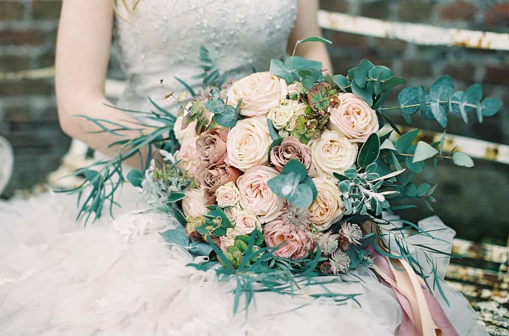 close up of bouquet with roses