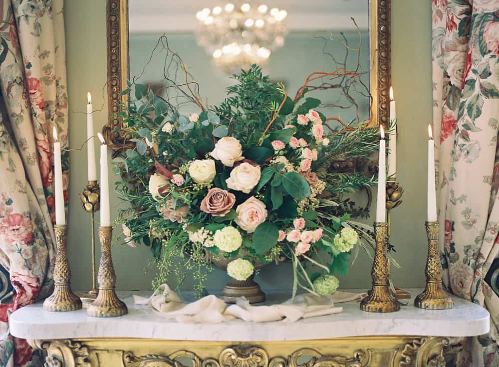 mantle arrangement with candles