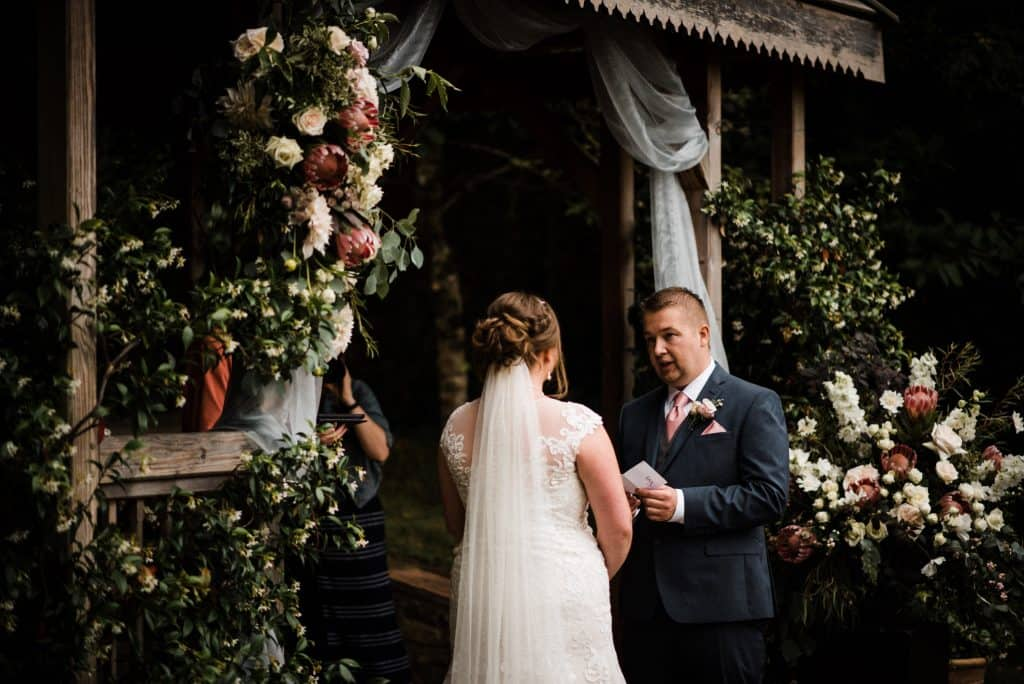 outdoor ceremony at pennard house