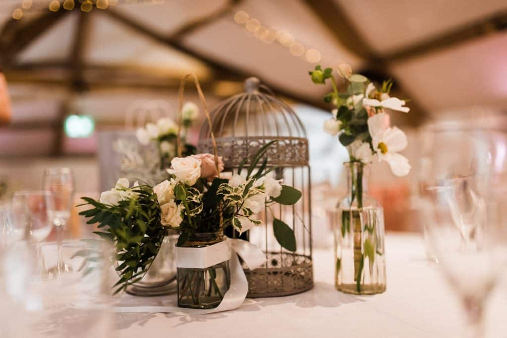 vintage table centres wedding flowers