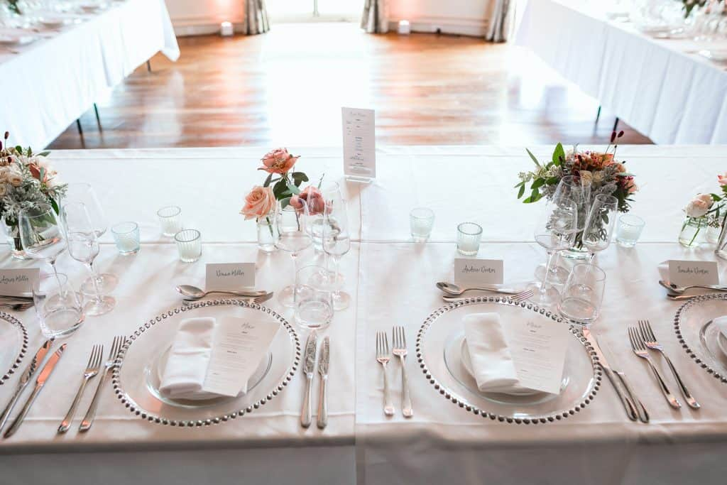 place setting with flowers