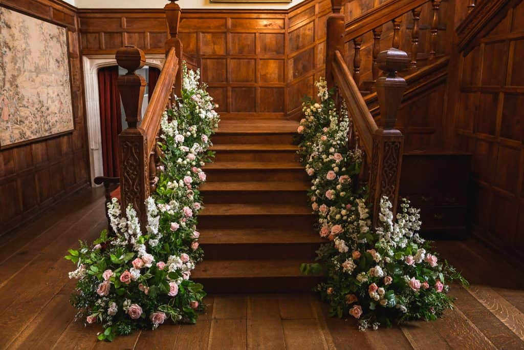 floral staircase at north Cadbury court