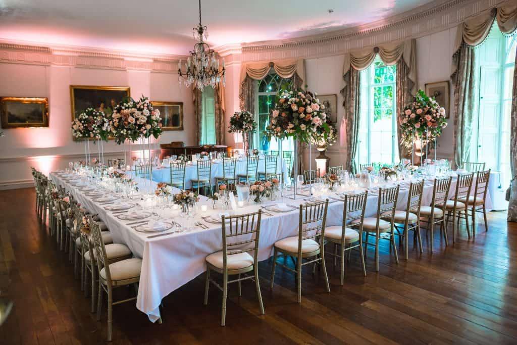 tablescape in ballroom of north cadbury court