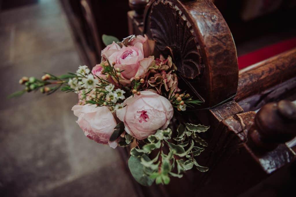 pew end mere church wedding flowers