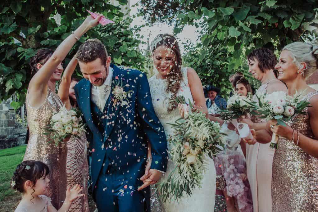 confetti shot bridal bouquet