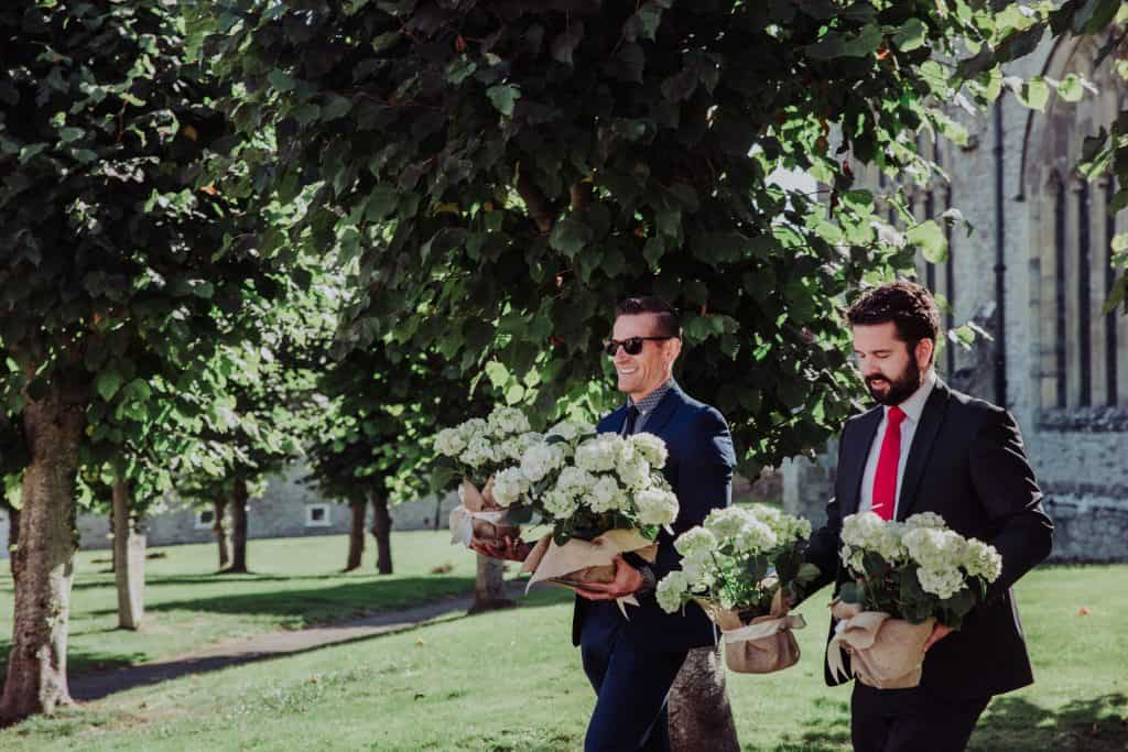 wedding arrangement hydrangeas