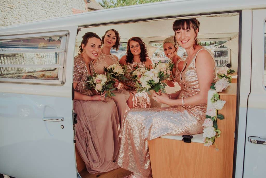 bridesmaids flowers car somerset