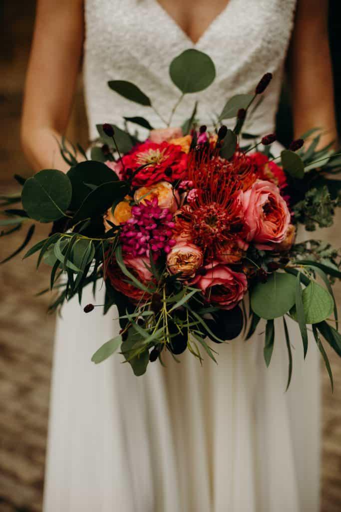 bright orange and pink wedding flowers