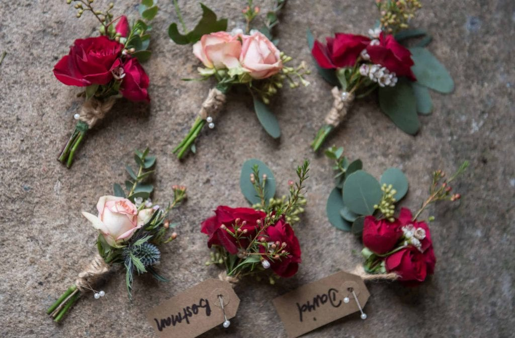 christmas wedding buttonholes