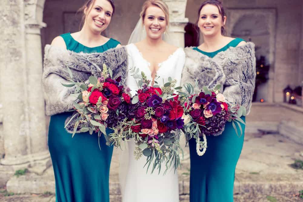 dark colour bridesmaids flowers
