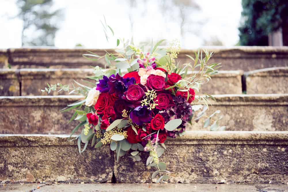 bridal bouquet with reds and burgundy