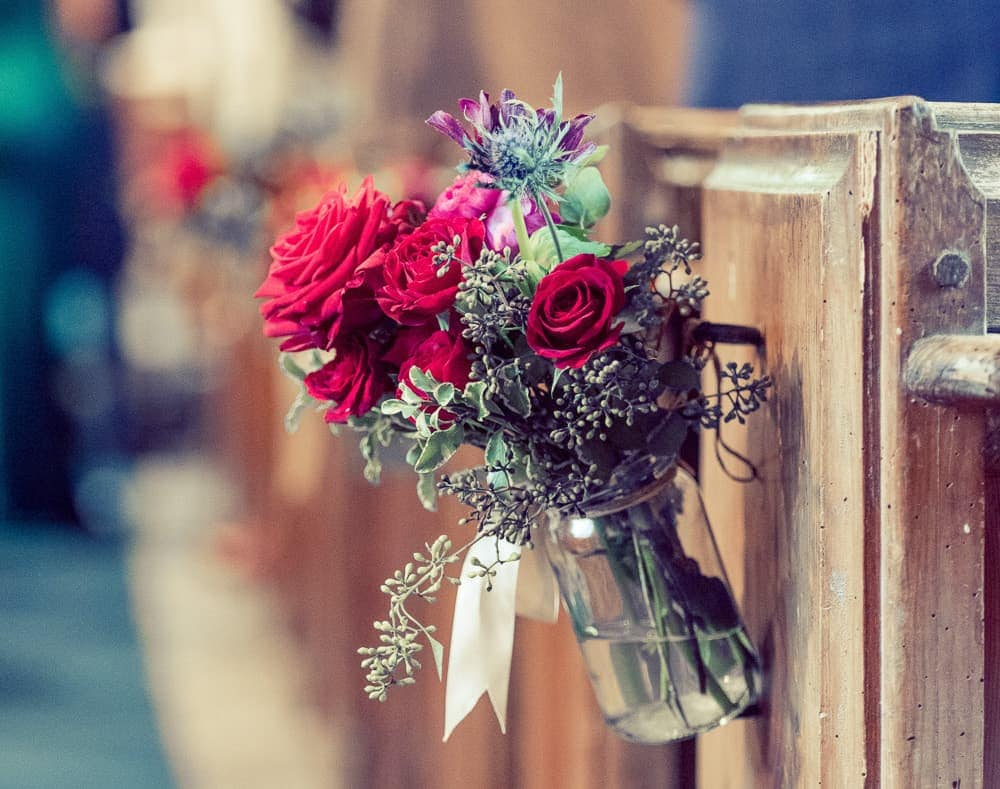 pew ends flowers wedding church