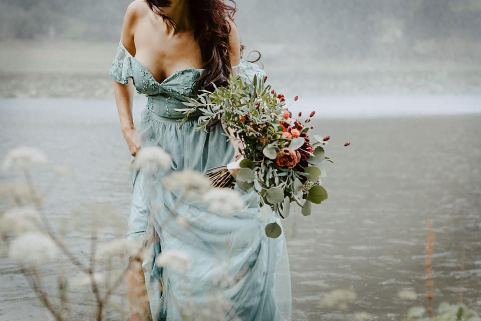 bridal flowers blue dress
