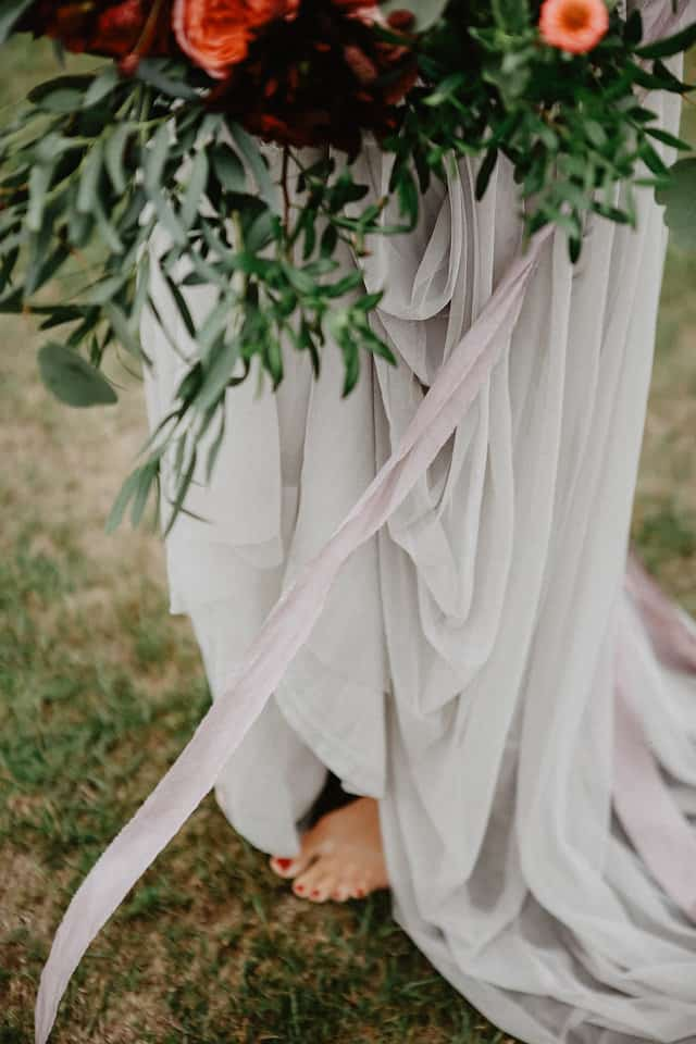 silk ribbons and flowers