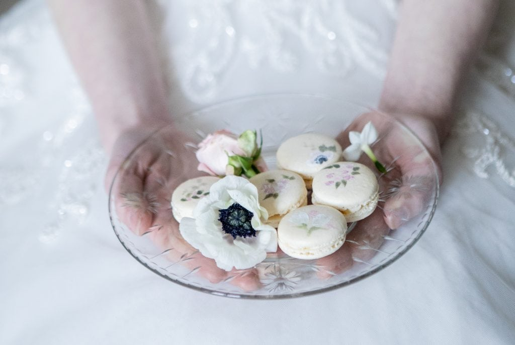 painted macaroons styled shoot